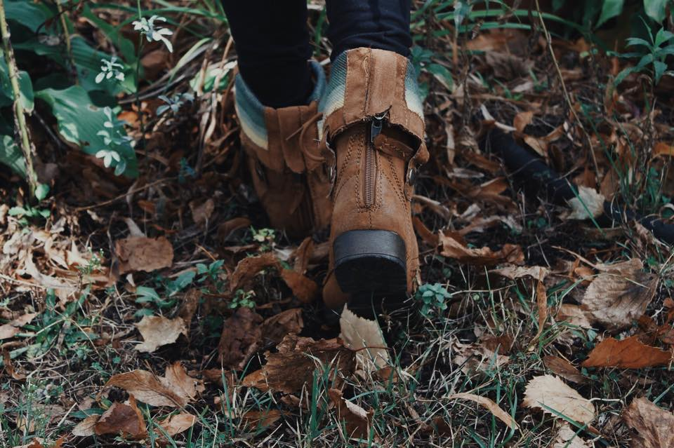 boots running through leaves
