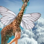 giraffe with wings and human legs