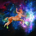 majestic baby centaur flying through space