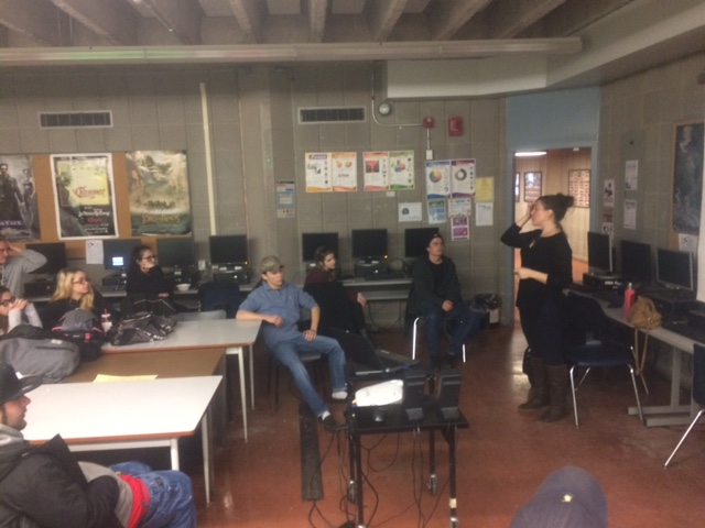 amy presenting to students
