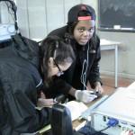 students examining evidence