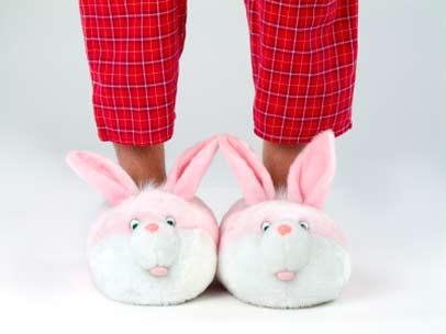 feet in bunny slippers
