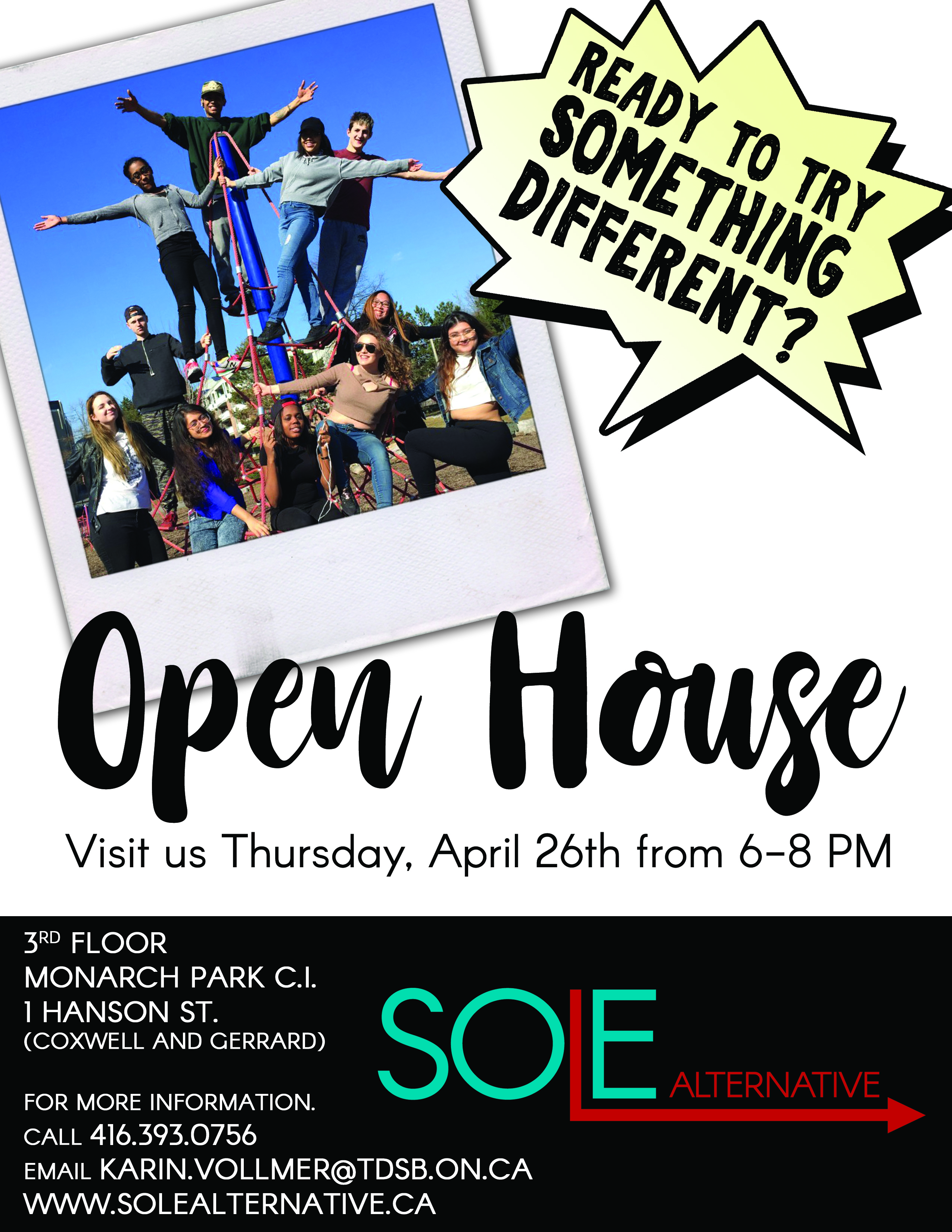 open house - april 26th, 6-8 pm