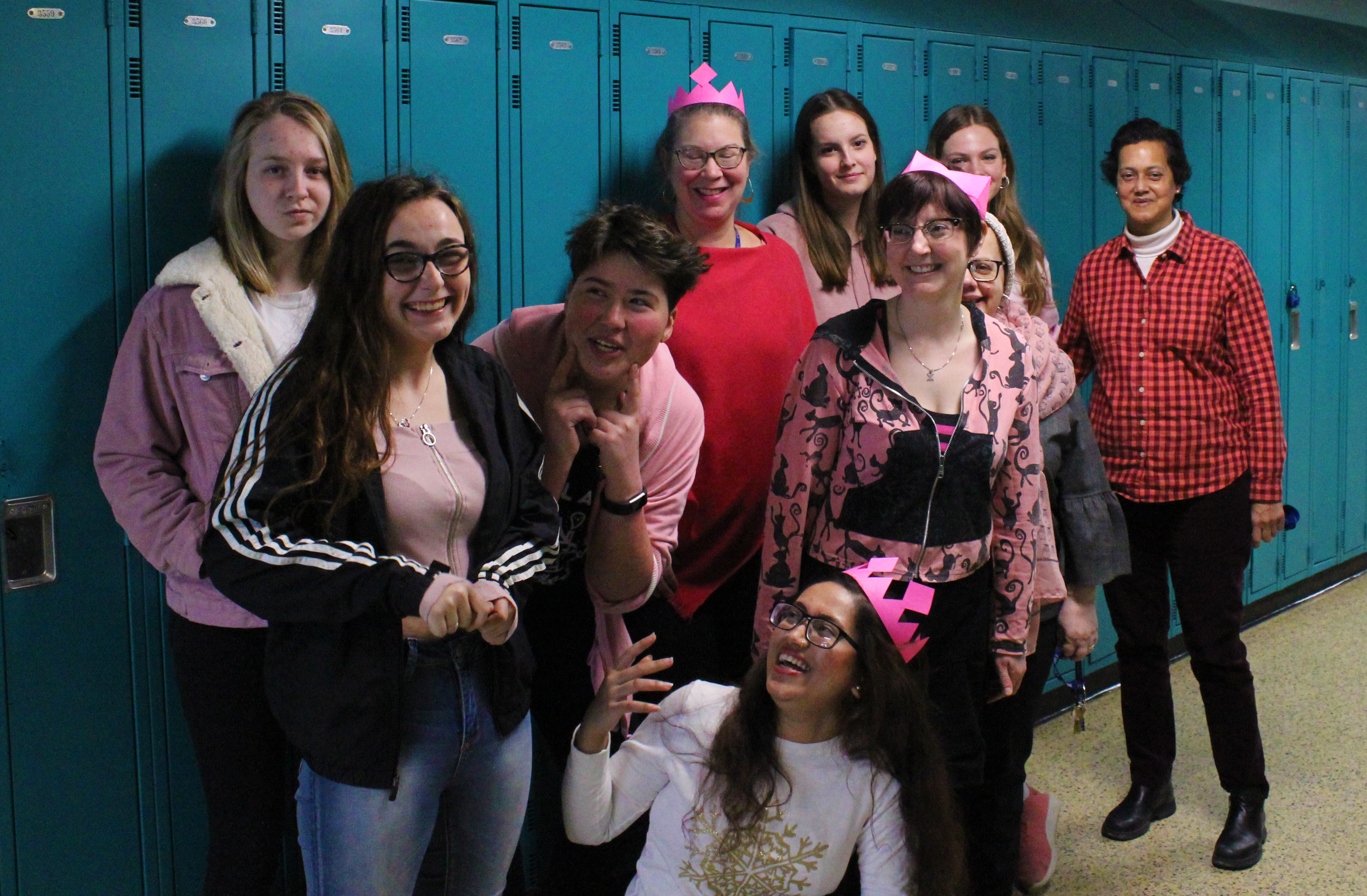 students and teachers in pink
