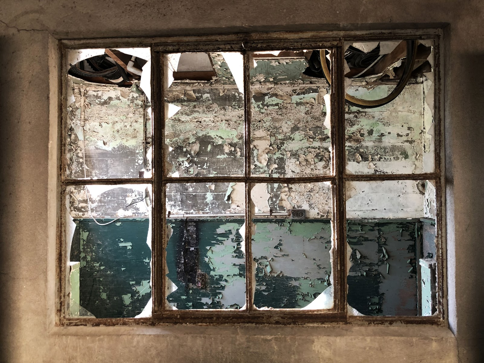 window with broken glass